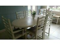 Shabby chic table and 6 ladderback chairs in Laura Ashley White & Gingham