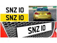 SNZ 10 Dateless Personalised Number Plate Audi BMW Volvo Ford Evo Subaru Honda Toyota Kia GTI M3 RS