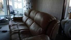 Cream leather 3 seater settee