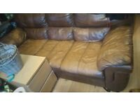FREE TO COLLECTOR BROWN LEATHER SETTEE AND CHAIR