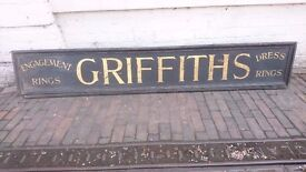 ANTIQUE LARGE WOODEN ORIGINAL C1920S JEWELERS SHOP ADVERTISING SHOP SIGN 2 SIDED DIFFERENT TEXT GC