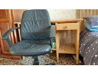 Pine Desk & Leather Chair