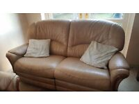 Leather 2 seater & 3 seater recliner sofas