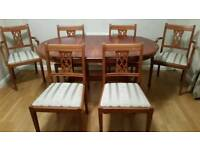 Extendable dining room table & 6 chairs