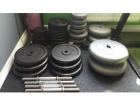 Collection of Weight Plates and standard bars - Will Sell Separately