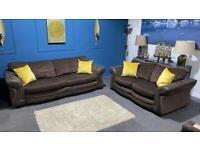 Brown fabric suite. Large 3 seater and large 2 seater