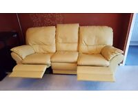 Quality, leather, recling 3 piece suite and footstool