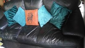Black soft leather sofa