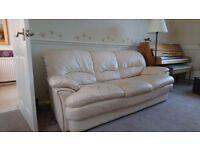 3 seater leather sofa - cream