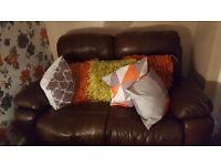 3+2 chocolate brown leather recliners sofas immaculate condition only a year old