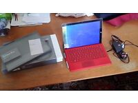 Microsoft Surface Pro 3 red i5 128Gb SSD with boxes keyboard and stylus £450