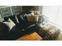 Black FAUX LEATHER SOFA for sale