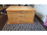 Caravan drawer unit with sliding flap out table top