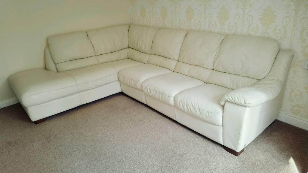 Italsofa Cream Leather Corner Sofa