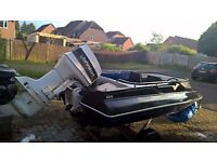 Speed boat (sims superV) 60 hp johnson outboard, trailer