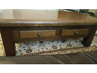 Solid dark oak coffee table with draws