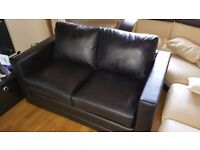 Real Black Leather Sofa Bed Double Bed pull out