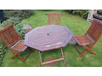 Teak table and 3 chairs