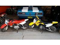 WANTED 2 pit paddock monkey mini bike CRF DRZ PW Honda Yamaha Kawasaki Suzuki Oset trials motocross
