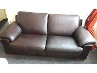 Brown leather sofa like new