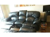 Sofa 3 Seater Recliner High Grade Black Leather