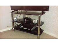 Glass table and 4 chairs and matching tv unit