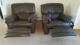 Leather Recliner Sofa and Chairs