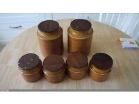 6 x Horsea Saffron Storage Jars, retro, 1975 era