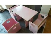Pink desk & chairs