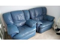 2 recliner Blue leather armchairs