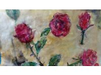 Nature art work, handpainted wax stained roses