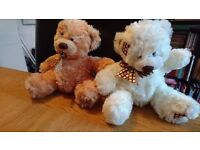 Fluffy Teddy Bears 1 brown 1 white
