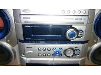 Alwa HiFi stereo system - holds 6 cds, plays cassette, radio and mp3 - huge sound
