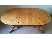 Pine Dining Table and four Leather Chairs