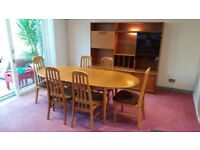 Dining table, 6 chairs and wall/display unit