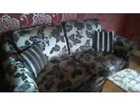 3 Seat and 2 Seat Fabric Settees in Gold and Brown floral pattern