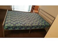 double silver metal bed with mattress