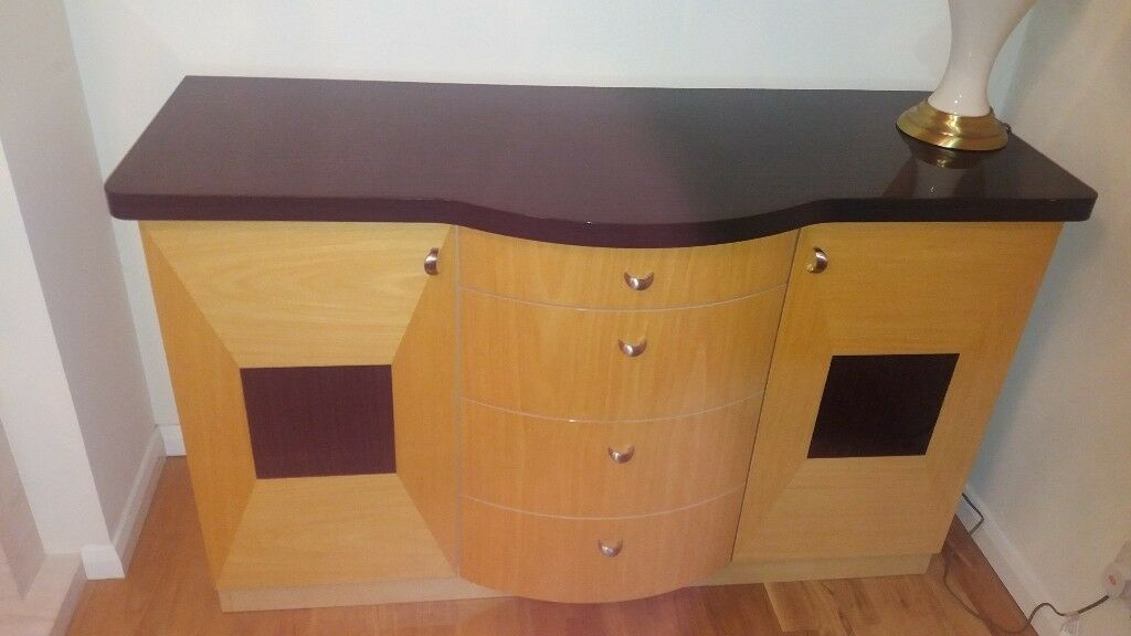 Sideboard In Black Natural Wood With Gloss Finish Matching Tv