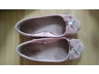 Pink suede ballerina shoes size 3