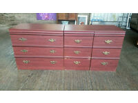 Set of Mahogany Effect Chest of Drawers