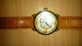 Stuhrling Original Men's Automatic Watch with Gold Dial Analogue Display and Gold Stainless Steel
