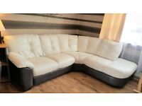 2 piece corner sofa with large swivel chair and half moon footstool