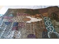 Asian embroidered wall hanging and cushions