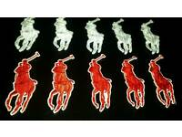 X10 polo iron on badges 10pounds free postage available