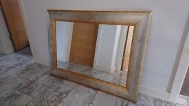 Large heavy Silver & Gold Framed Mirror 45ins X 33ins