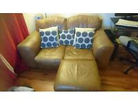 2 seater leather sofa and pouffe