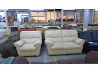 PRE OWNED Manual reclining 2 seater + manual reclining chair in Cream Leather