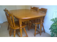 Dining table and four chairs traditional style