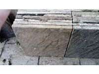 Faded buff riven slabs