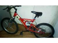 "BOYS VORTEX 20"" WHEEL FULL SUSPENSION MOUNTAIN BIKE. 6 GEARS. V.G.C. TIRES ARE AS NEW."